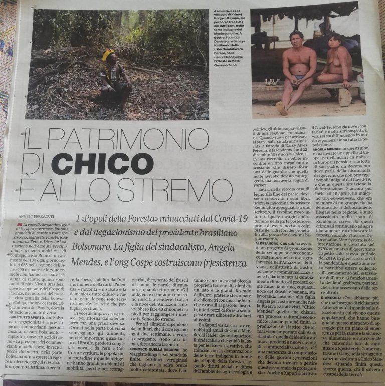 Articolo Amazzonia e Covid-19, Alessandro Ugolini operatore Cospe ong